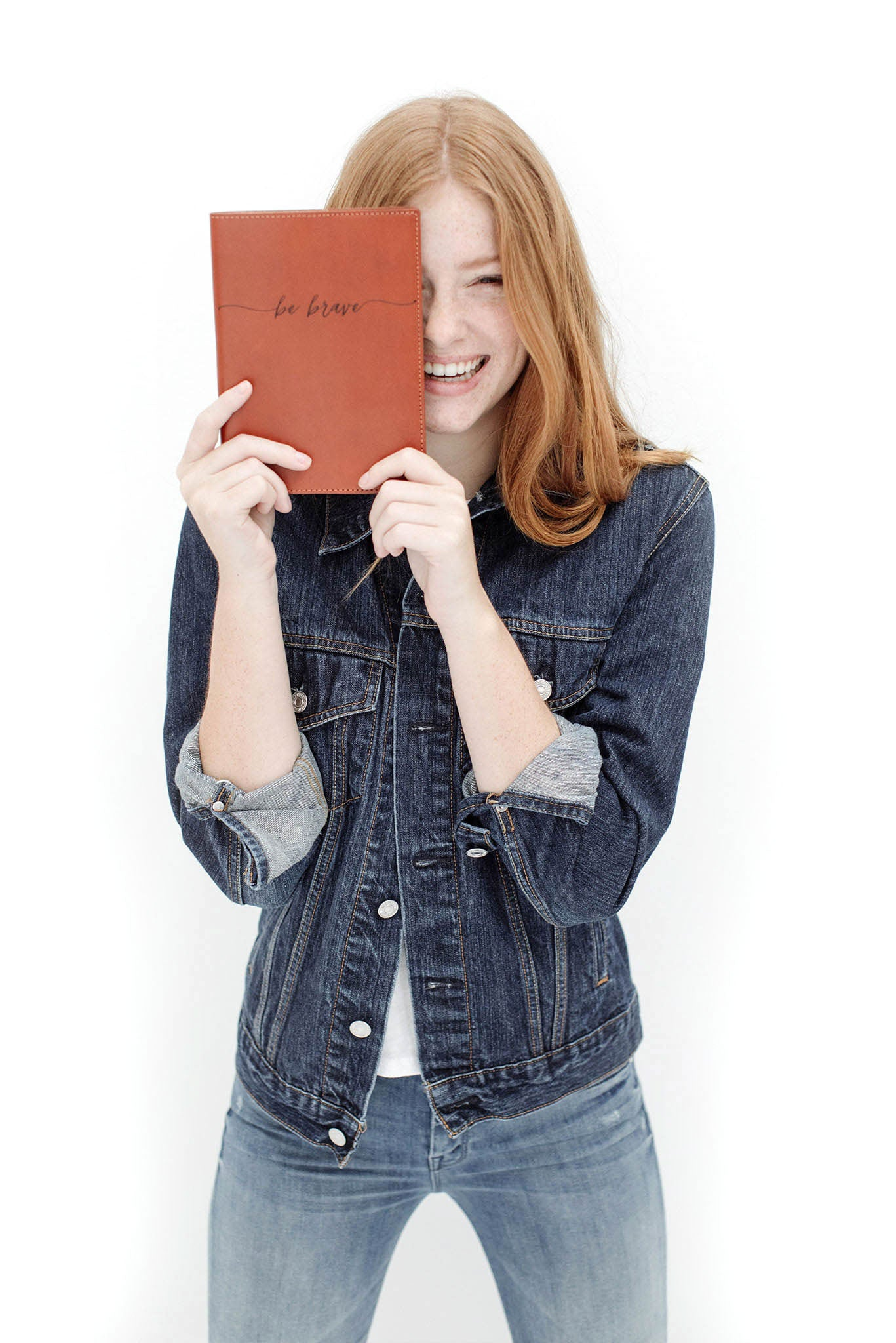 "FOTO | ""Be Brave"" Refillable Leather Journal Cover - the perfect gift for the writers in your life."