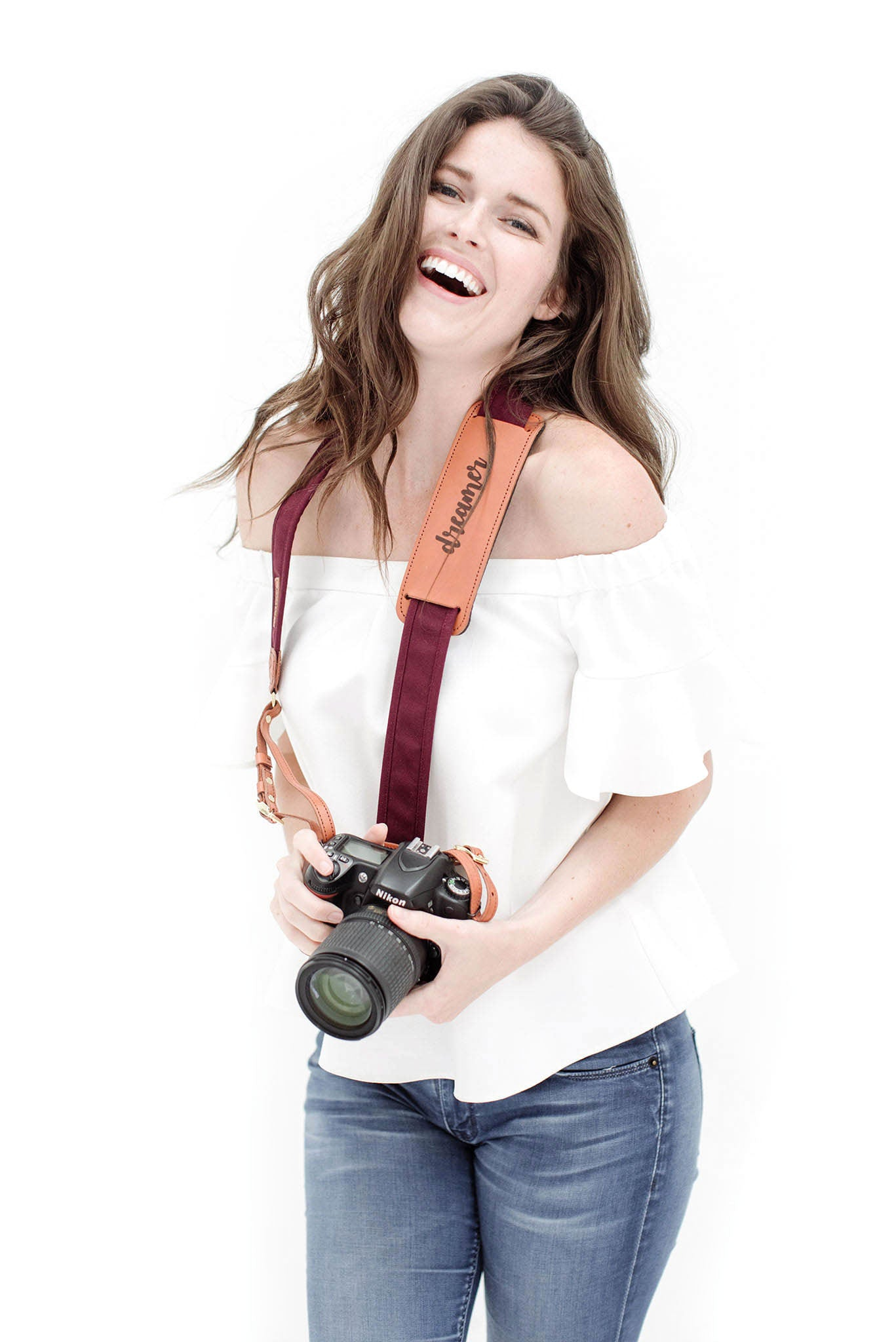 FOTO | Merlot Fotostrap for her - a burgundy canvas and genuine leather camera strap that can be personalized with a monogram or business logo, making it the perfect personalized gift!