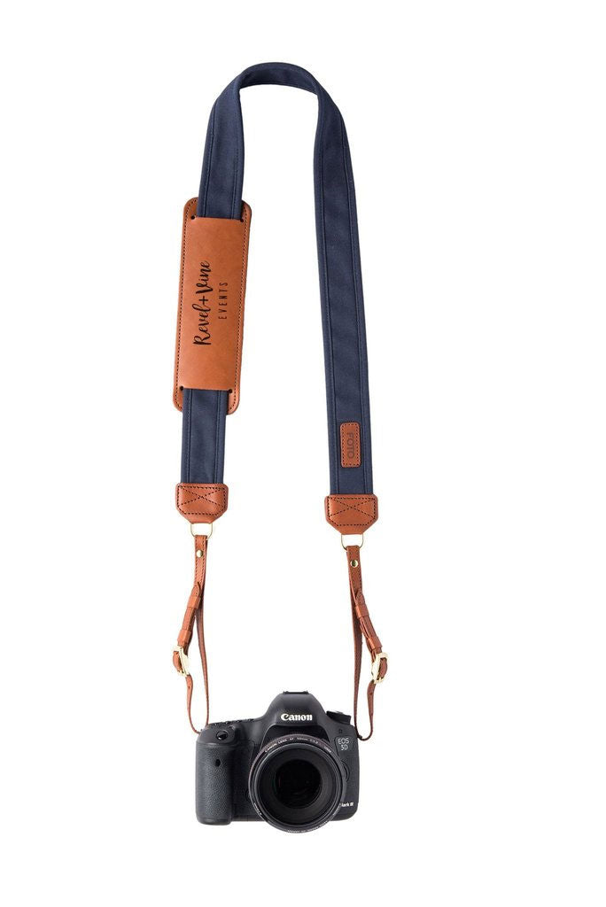 FOTO | Navy Fotostrap - a navy blue canvas and genuine leather camera strap that can be personalized with a monogram or business logo, making it the perfect personalized gift!