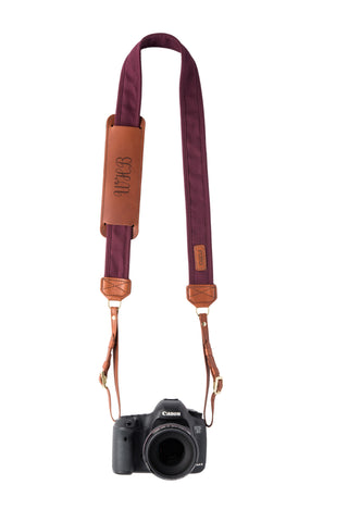 FOTO | Merlot Fotostrap - a burgundy canvas and genuine leather camera strap that can be personalized with a monogram or business logo, making it the perfect personalized gift!