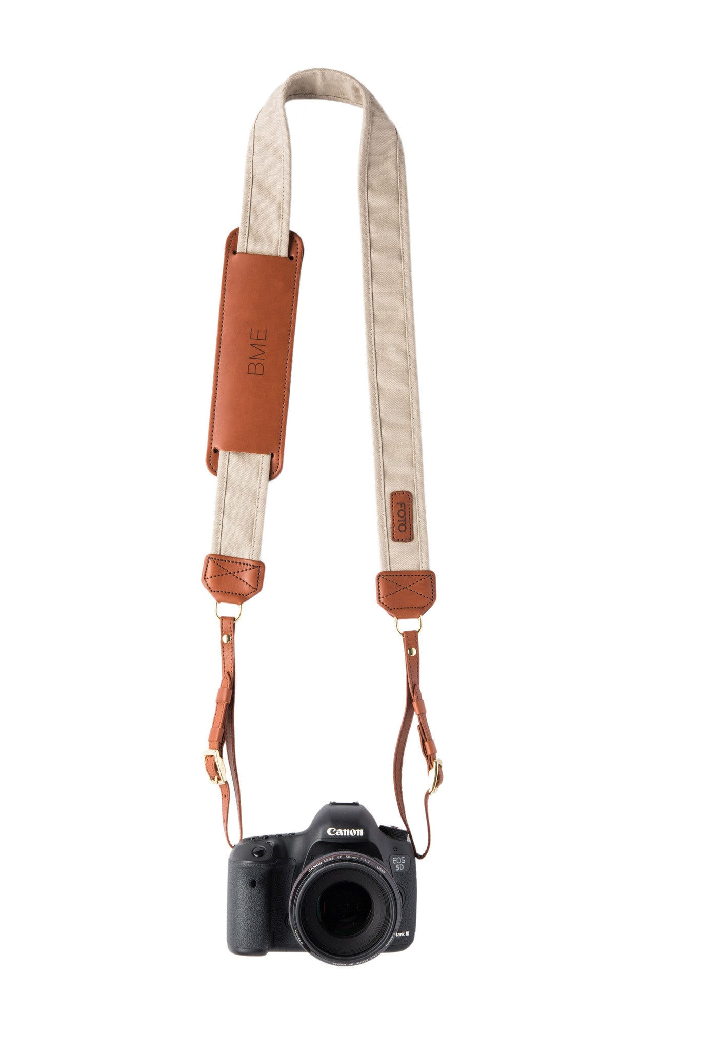 FOTO | Stone Fotostrap for New Moms - a light tan canvas and genuine leather camera strap that can be personalized with a monogram or personal graphic, making it the perfect personalized gift!