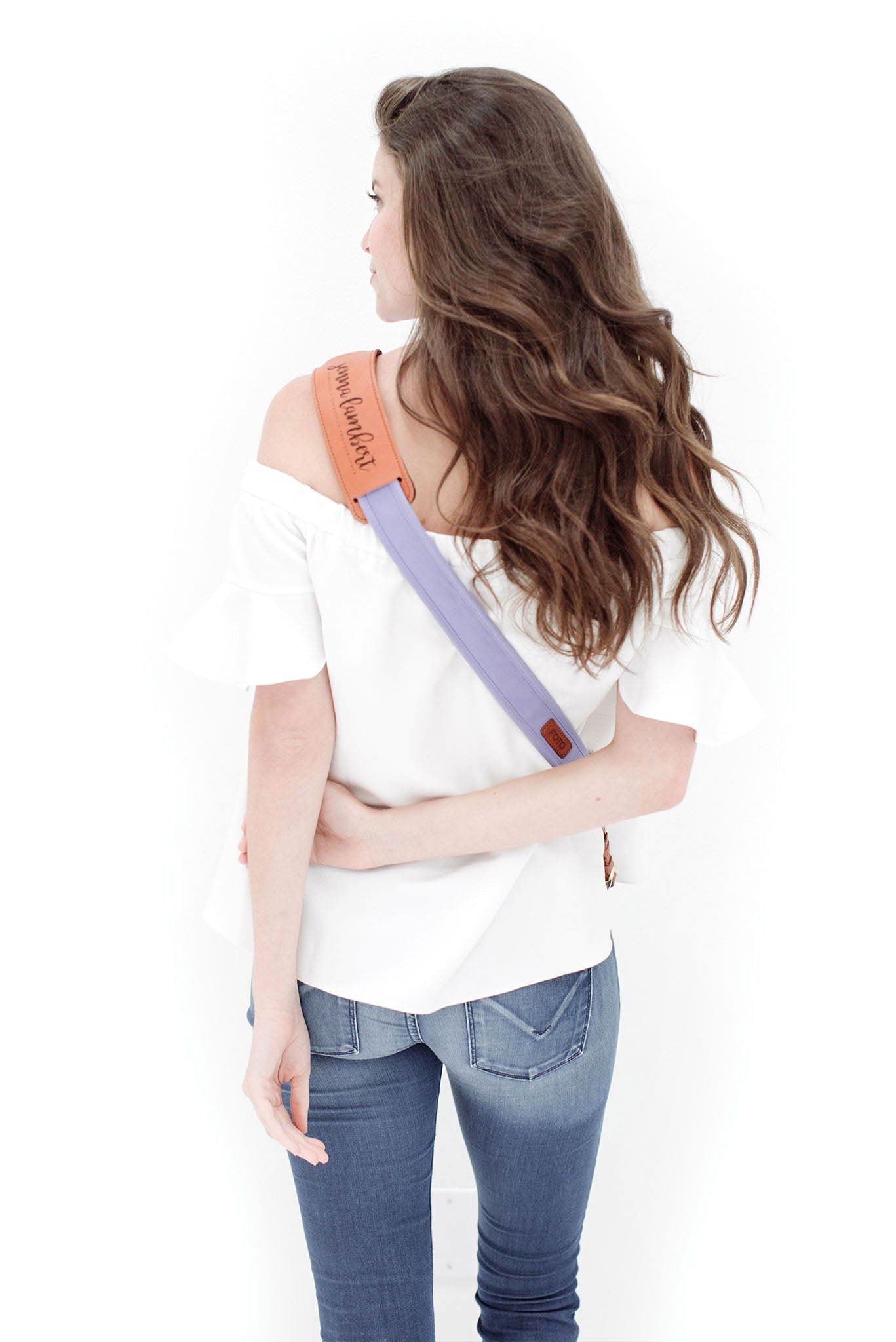 FOTO | Orchid Fotostrap - a lavender purple canvas and genuine leather camera strap that can be personalized with a monogram or business logo, making it the perfect personalized gift!