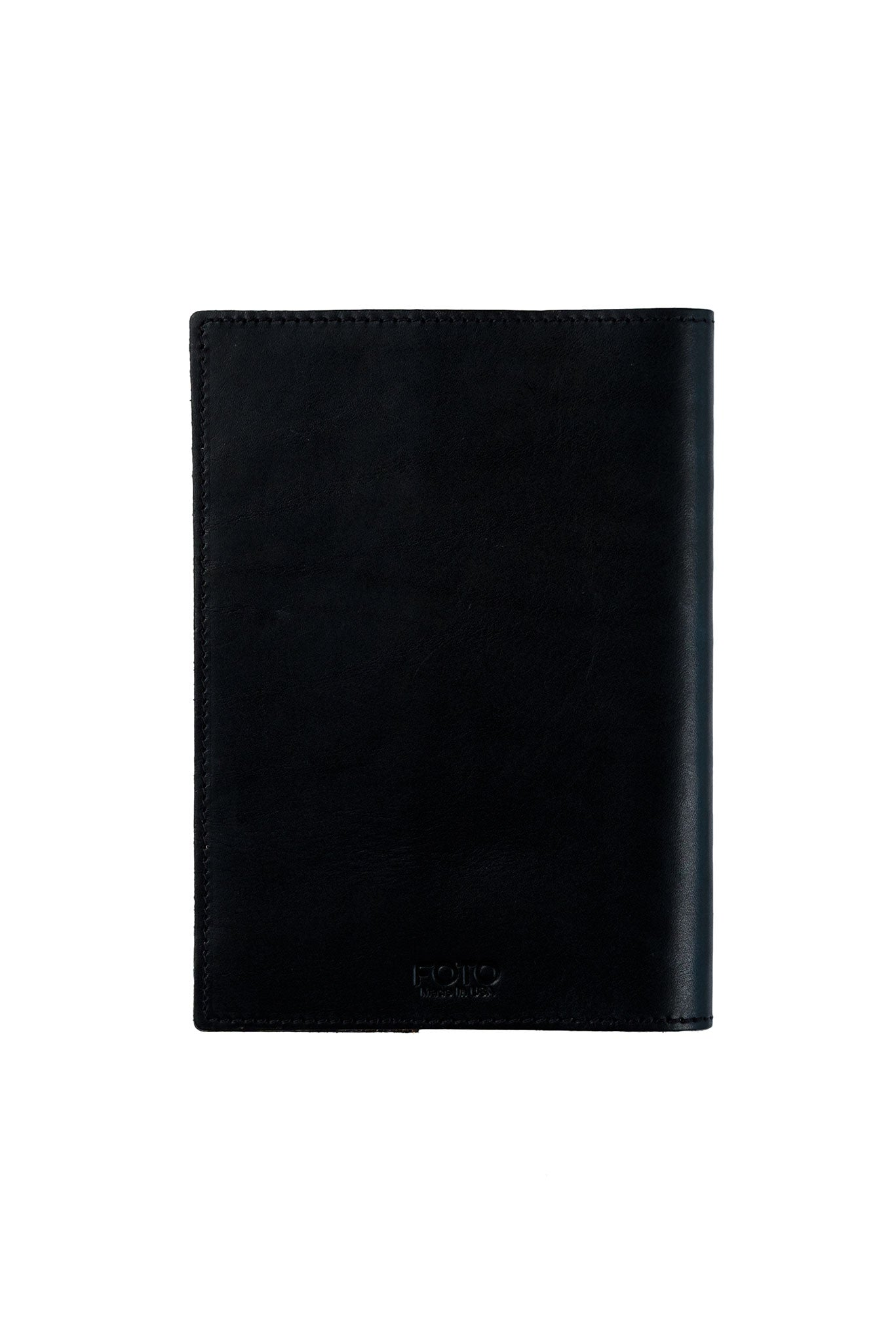 FOTO | Black Leather Journal - refillable genuine leather journal cover can be personalized with gold foil initials, a monogram or business logo making it the perfect personalized gift.