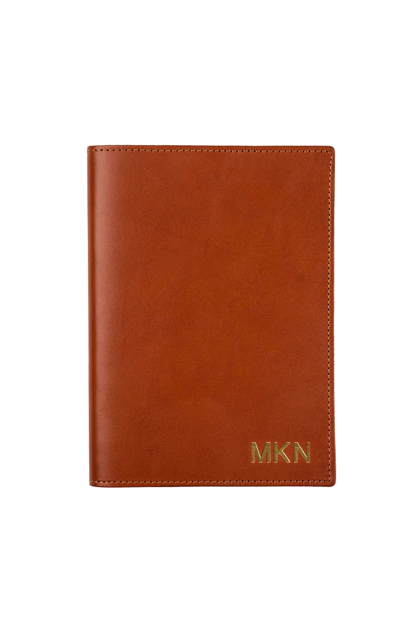 FOTO | Cognac Leather Journal for Business - refillable genuine leather journal cover can be personalized with gold foil initials, a monogram or business logo making it the perfect personalized gift.