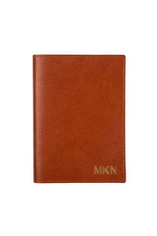 FOTO | Chestnut Leather Journal - refillable genuine leather journal cover can be personalized with gold foil initials, a monogram or business logo making it the perfect personalized gift.