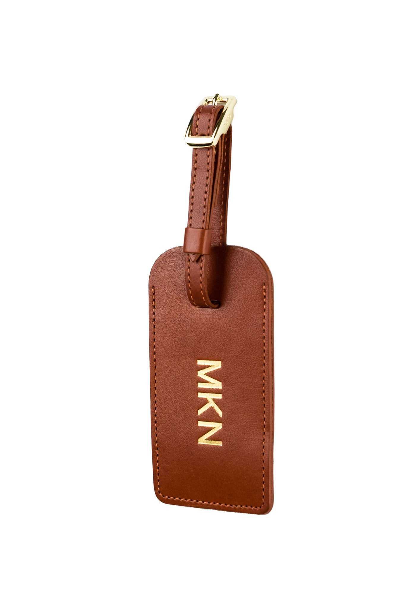 FOTO | Cognac Leather Luggage Tag for Businesses - genuine leather luggage tag that can be personalized with gold foil initials, a monogram or business logo making it the perfect personalized travel gift.