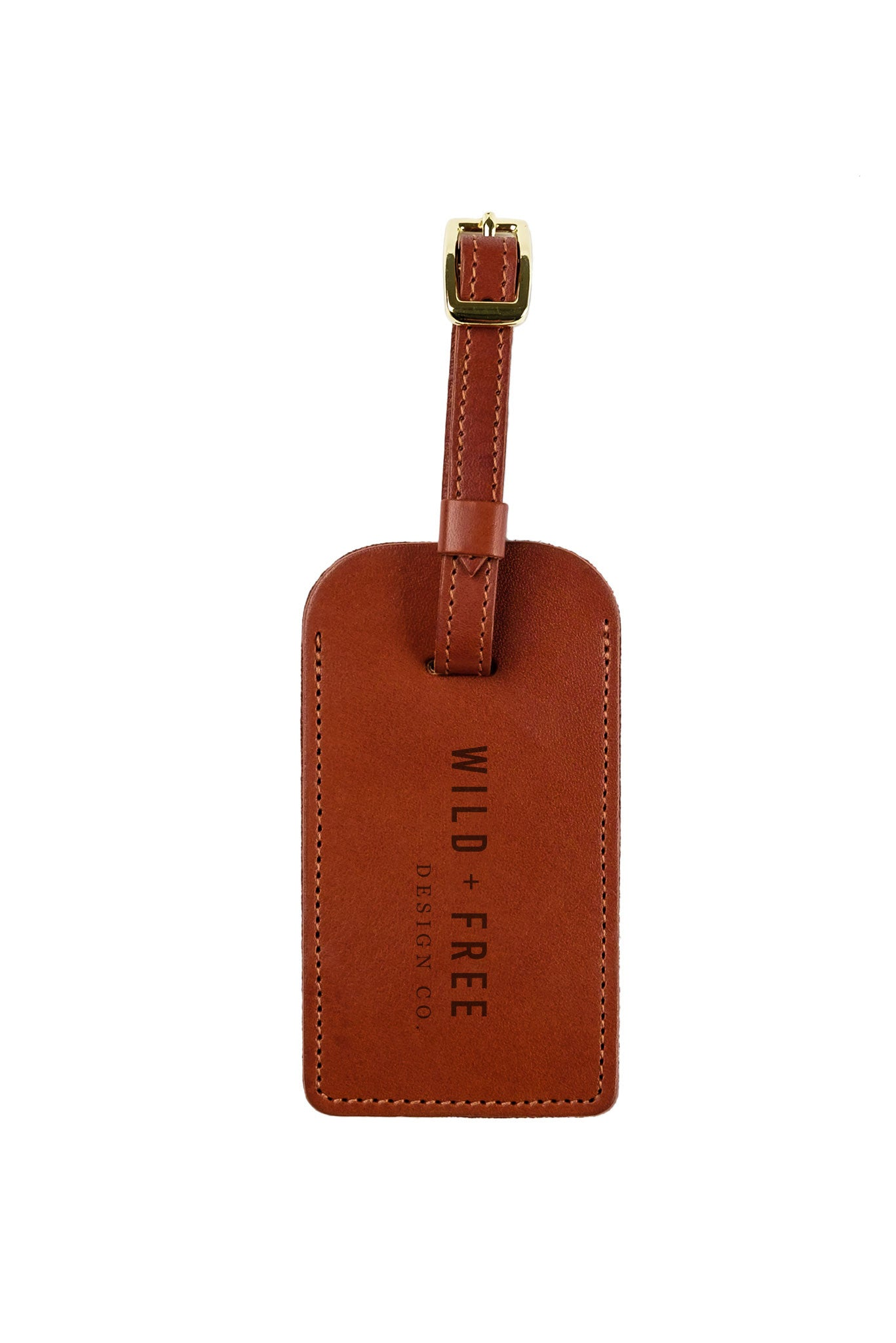 FOTO | Cognac Leather Luggage Tag for her - genuine leather luggage tag that can be personalized with gold foil initials, a monogram or business logo making it the perfect personalized travel gift.