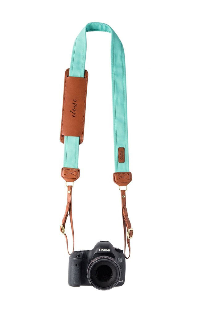 FOTO | Seaside Fotostrap - a turquoise canvas and genuine leather camera strap that can be personalized with a monogram or business logo, making it the perfect personalized gift!