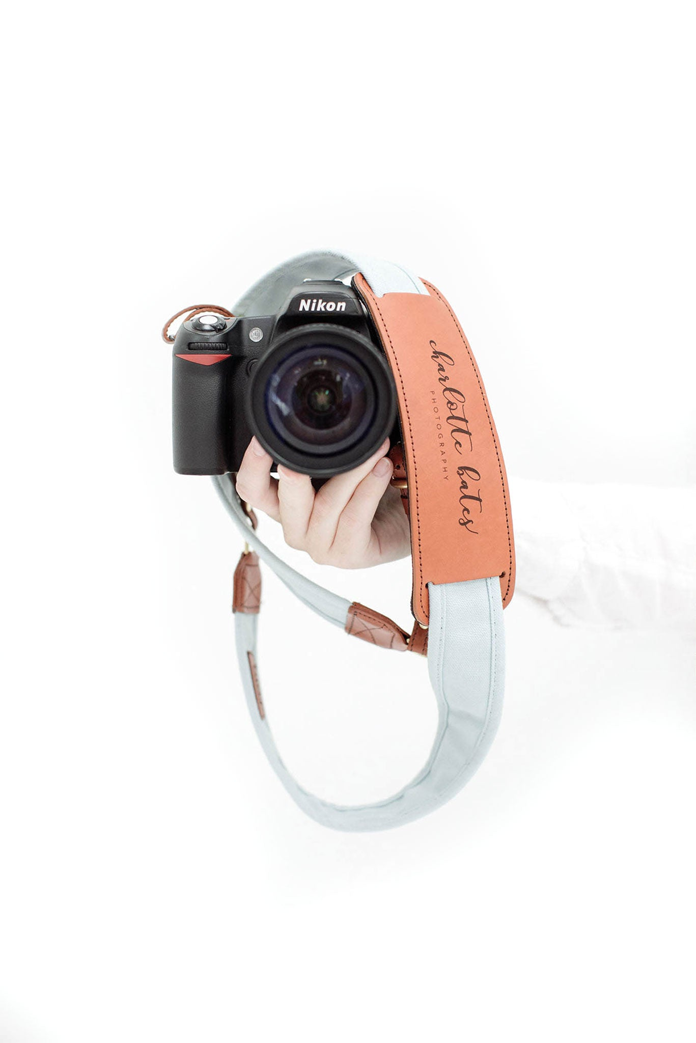 FOTO | Sky Fotostrap - a light blue canvas and genuine leather camera strap that can be personalized with a monogram or business logo, making it the perfect personalized gift!
