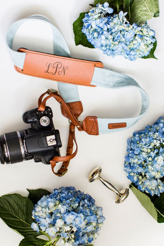 FOTO | Sky Fotostrap for New Moms - a light blue canvas and genuine leather camera strap that can be personalized with a monogram or personal graphic, making it the perfect personalized gift!