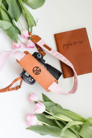 FOTO | Blush Fotostrap for New Moms - a light pink canvas and genuine leather camera strap that can be personalized with a monogram or personal graphic, making it the perfect personalized gift!