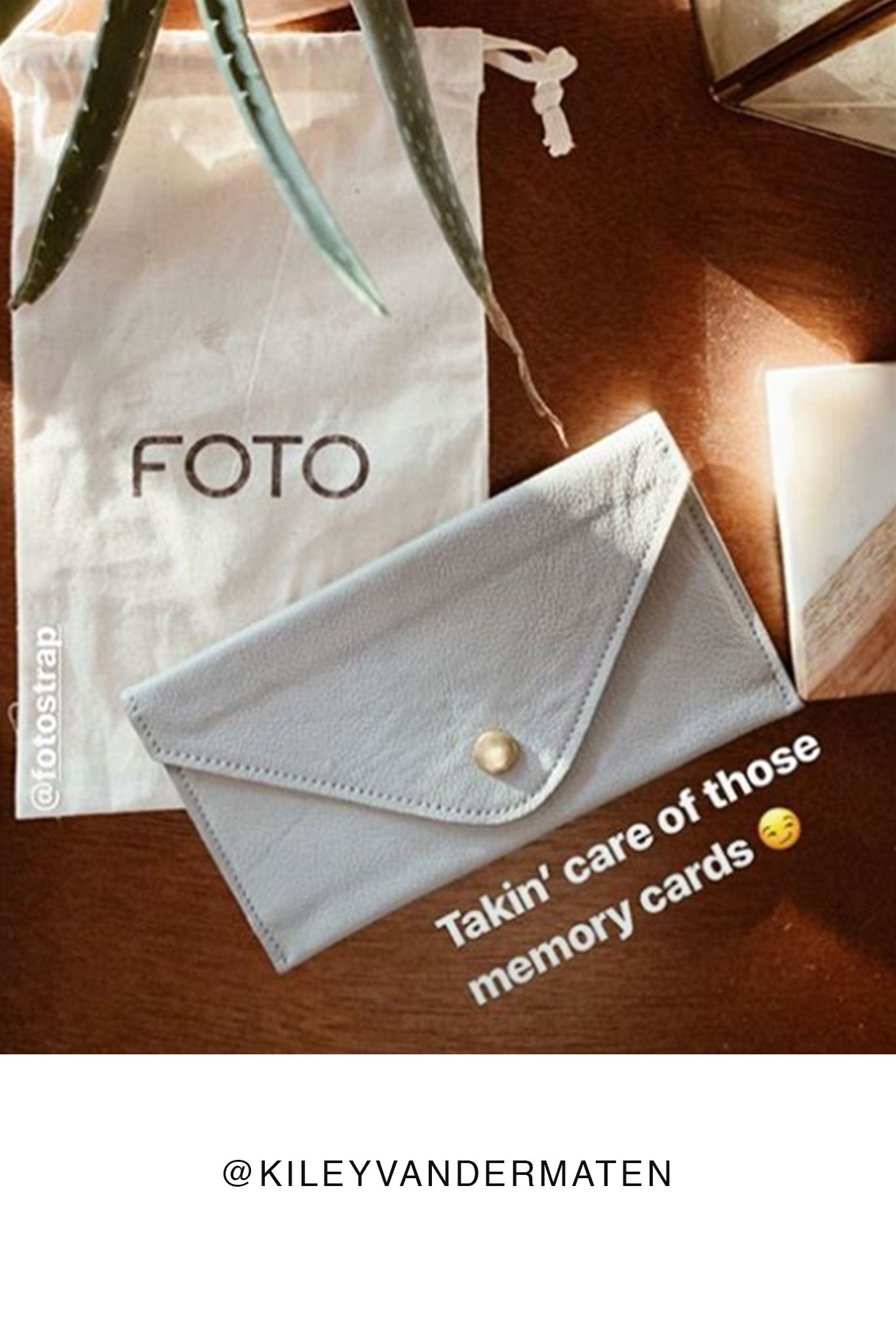 FOTO | Dove Memory Card Wallet - a dove grey pebbled leather SD and Compact Flash Memory Card holder that coordinates with our Dove Designer Fotostrap camera strap and can be personalized with a monogram or business logo, making it the perfect gift for the photographer in your life!