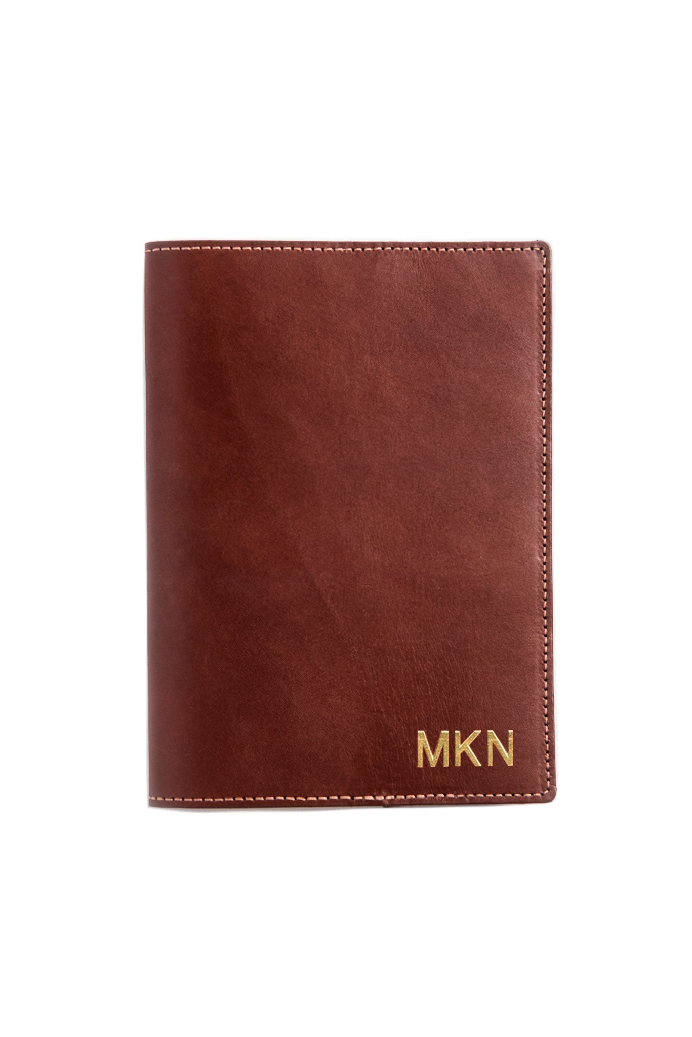 FOTO | Dutch Leather Journal Cover - refillable medium brown genuine leather journal cover can be personalized with gold foil initials, a monogram or business logo making it the perfect personalized gift.