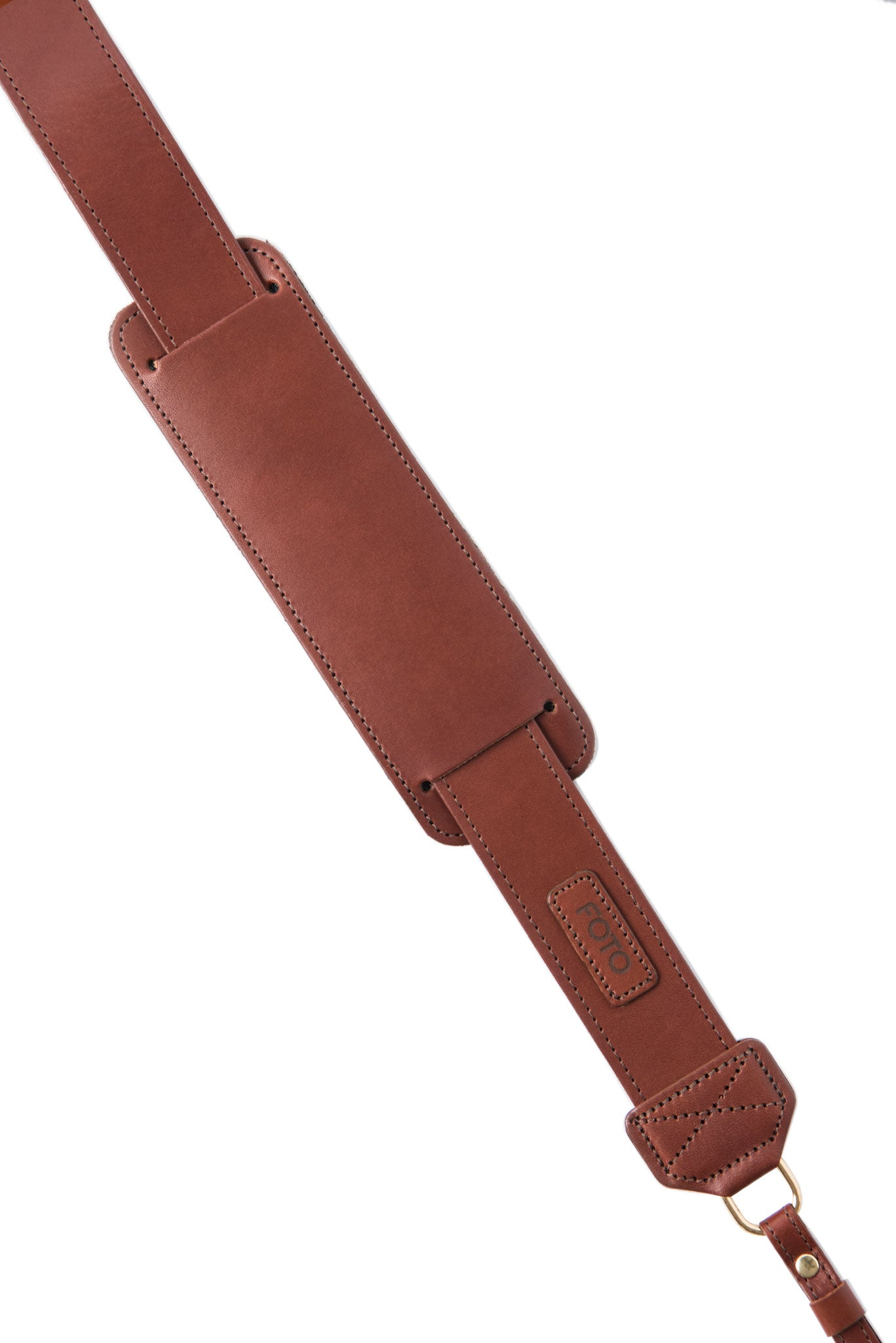 FOTO | Dutch Fotostrap - a medium brown genuine all-leather camera strap that can be personalized with a monogram or business logo, making this leather camera strap the perfect personalized gift.