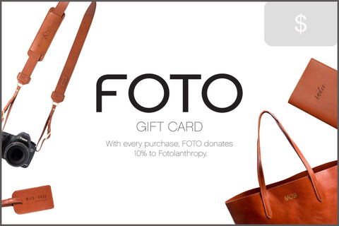 FOTO | Gift Card - Give a special personalized gift. FOTO's gift card is redeemable on our genuine leather camera strap the Fotostrap and other personalized leather gifts.