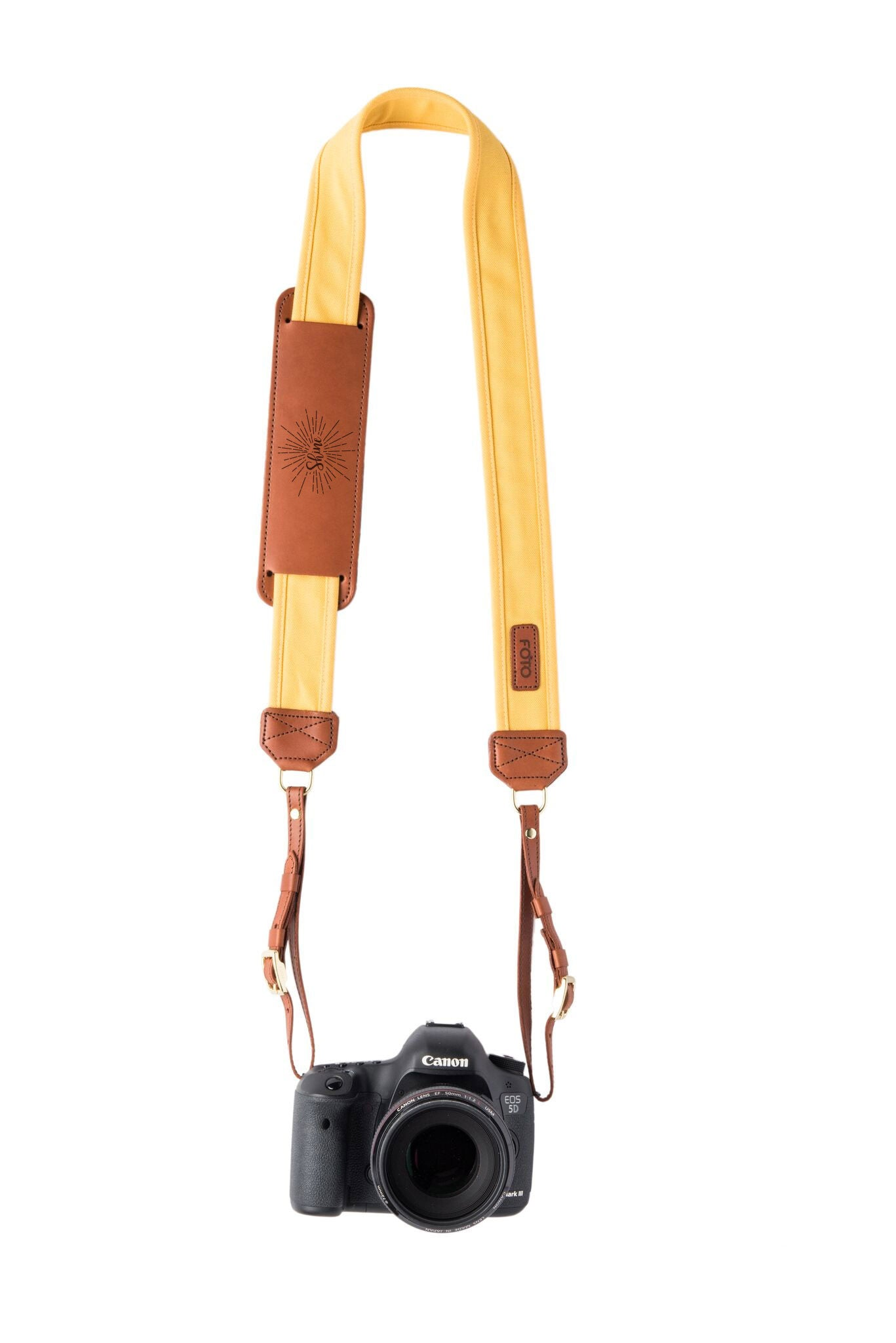 FOTO | Golden: In Honor of Griffin Shaw Fotostrap - a yellow canvas and genuine leather camera strap that can be personalized with a monogram or business logo, making it the perfect personalized gift!