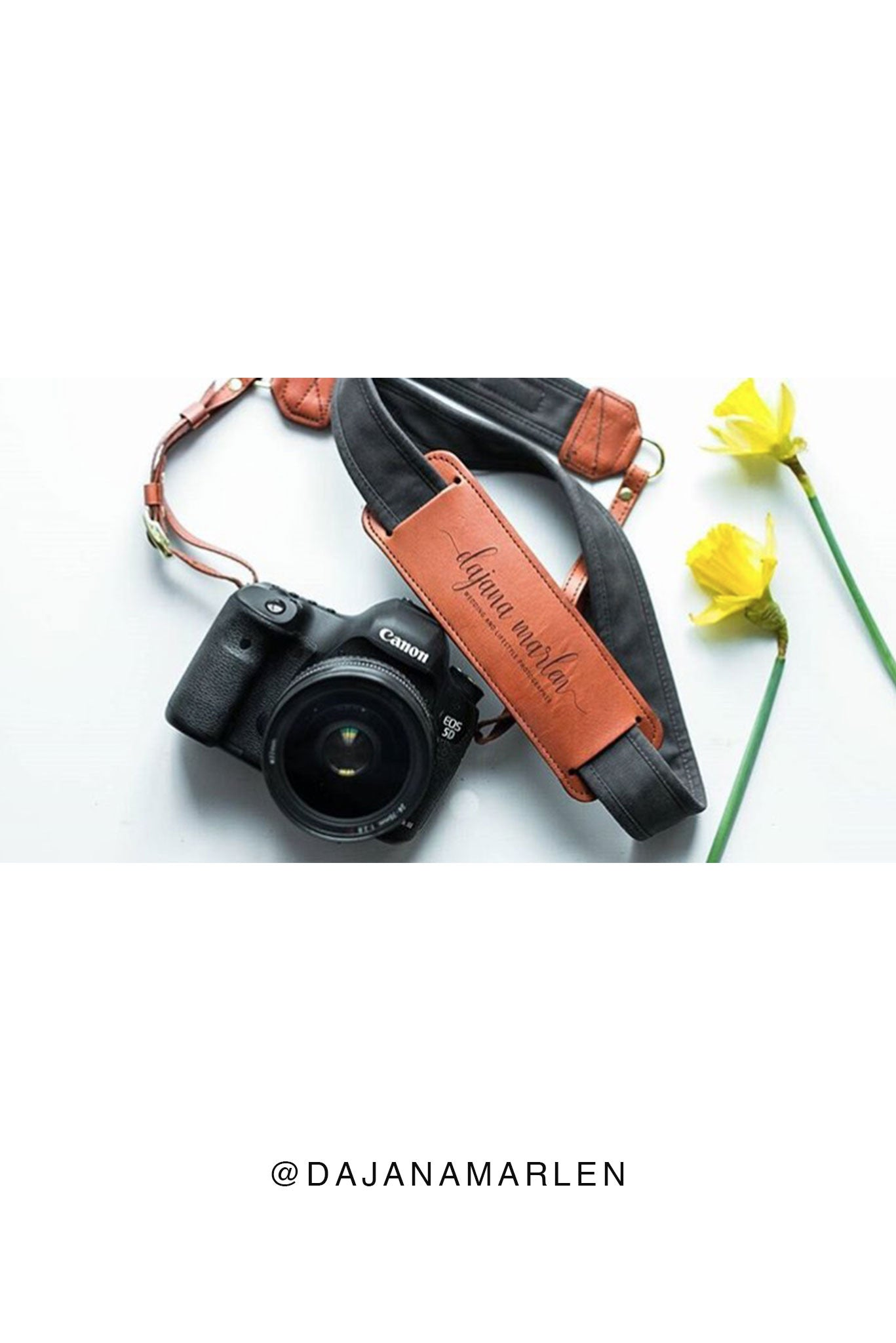FOTO | Graphite Fotostrap - a charcoal gray canvas and genuine leather camera strap that can be personalized with a monogram or business logo, making it the perfect personalized gift!