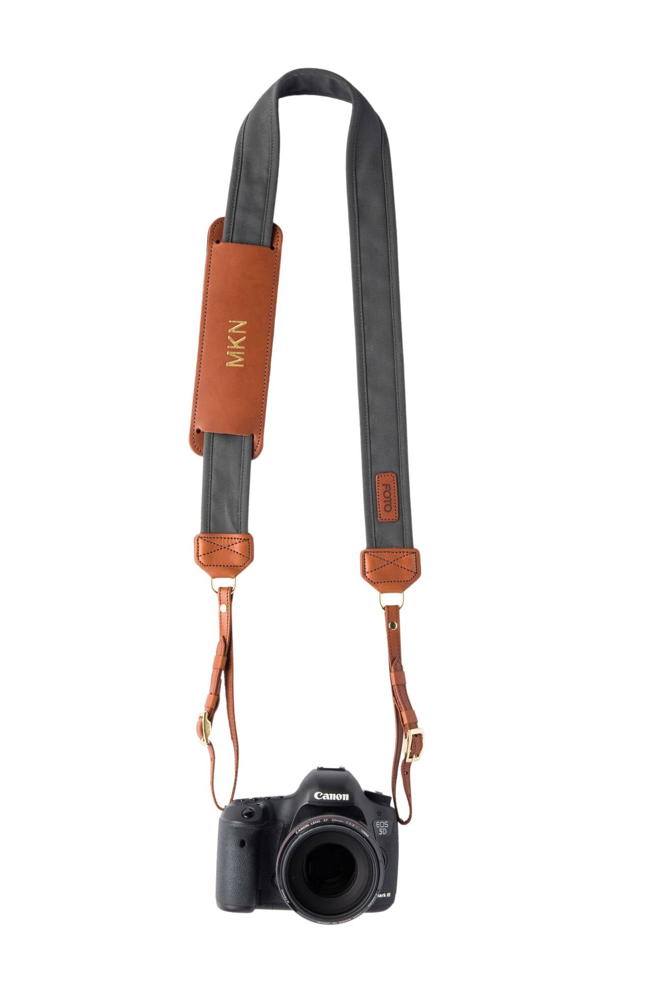 FOTO | Graphite Fotostrap for Her - a charcoal gray canvas and genuine leather camera strap that can be personalized with a monogram or business logo, making it the perfect personalized gift!