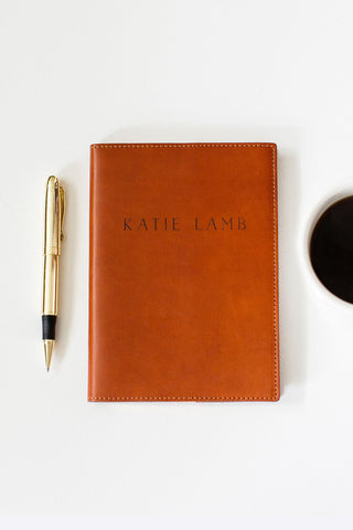 FOTO | Cognac Leather Journal for her - refillable genuine leather journal cover can be personalized with gold foil initials, a monogram or business logo making it the perfect personalized gift.