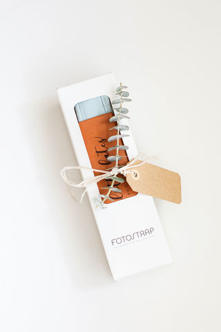 FOTO | The Sky Fotostrap for Photographers - a light blue canvas and genuine leather camera strap that can be personalized with a monogram or personal graphic, making it the perfect personalized gift!