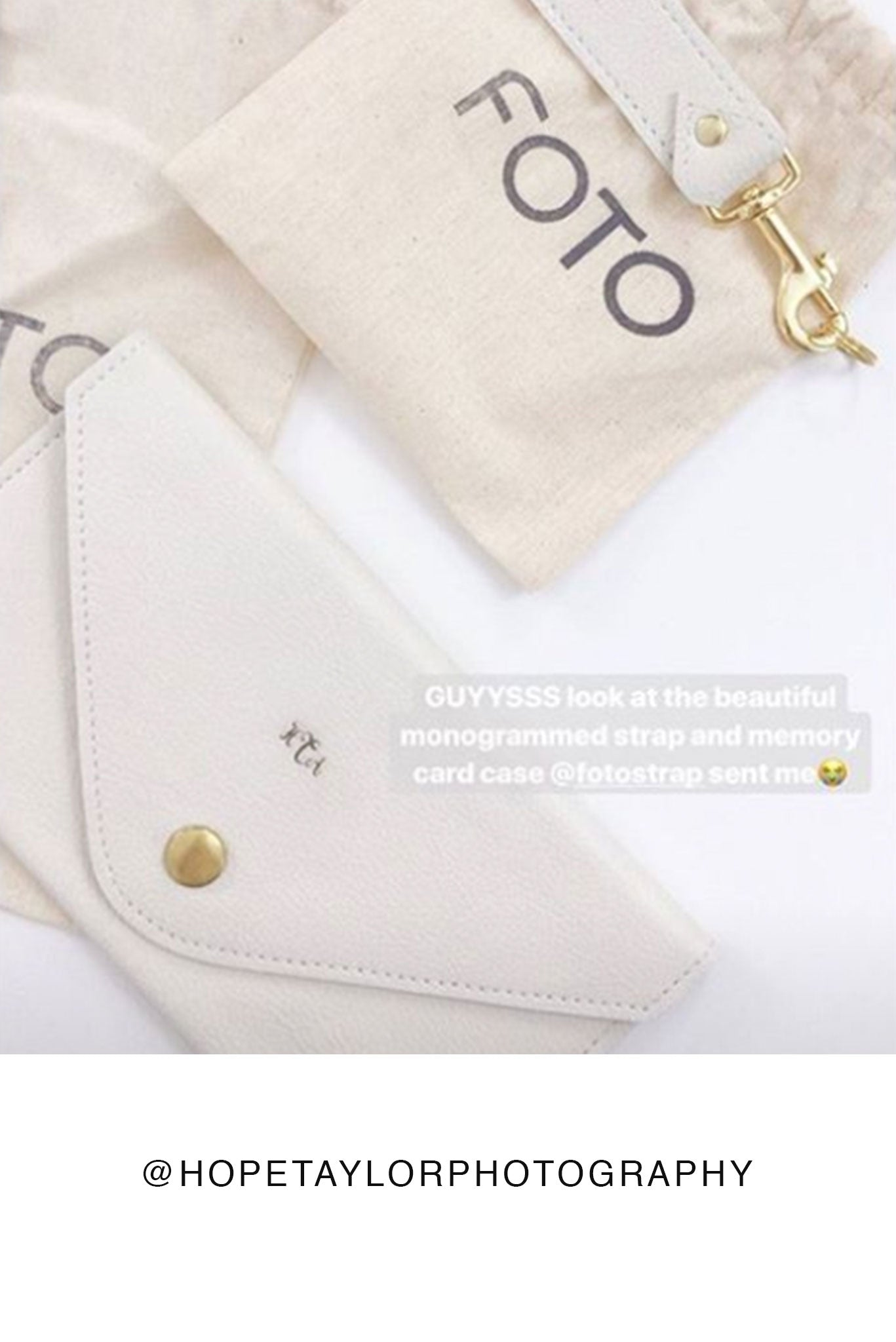 FOTO | Ivory Memory Card Wallet - an ivory pebbled leather SD and Compact Flash Memory Card holder that coordinates with our Ivory Designer Fotostrap camera strap and can be personalized with a monogram or business logo, making it the perfect gift for the photographer in your life!