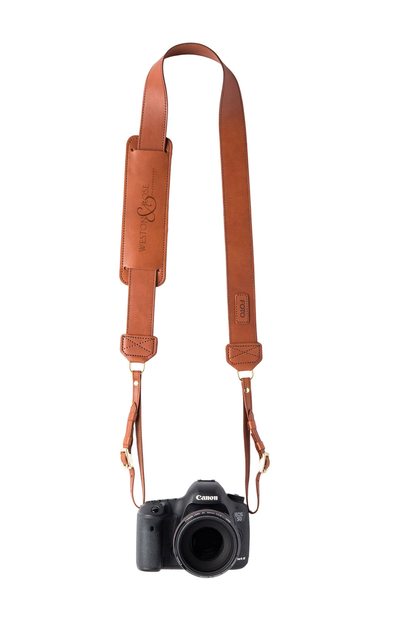 FOTO | James Fotostrap - a chestnut brown genuine all-leather camera strap that can be personalized with a monogram or business logo, making this leather camera strap the perfect personalized gift.