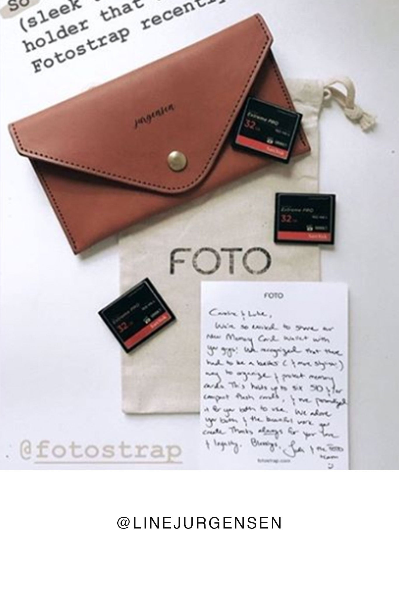 FOTO | James Memory Card Wallet - a cognac genuine leather SD and Compact Flash Memory Card holder that coordinates with our James and Classic Fotostraps or Cognac Skinny camera strap and can be personalized with a monogram or business logo, making it the perfect gift for the photographer in your life!