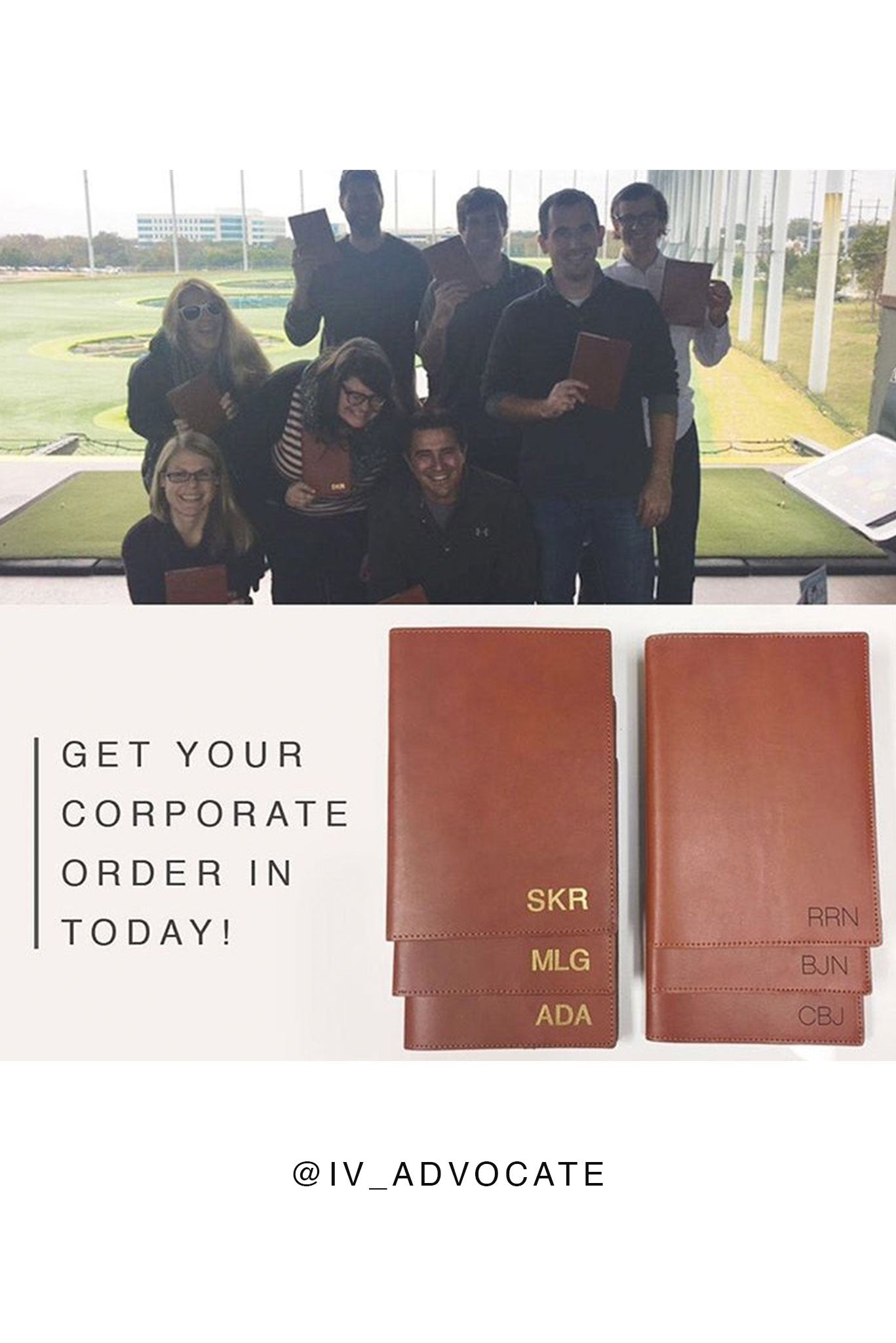 FOTO | Cognac Leather Journal - refillable genuine leather journal cover can be personalized with gold foil initials, a monogram or business logo making it the perfect personalized gift.