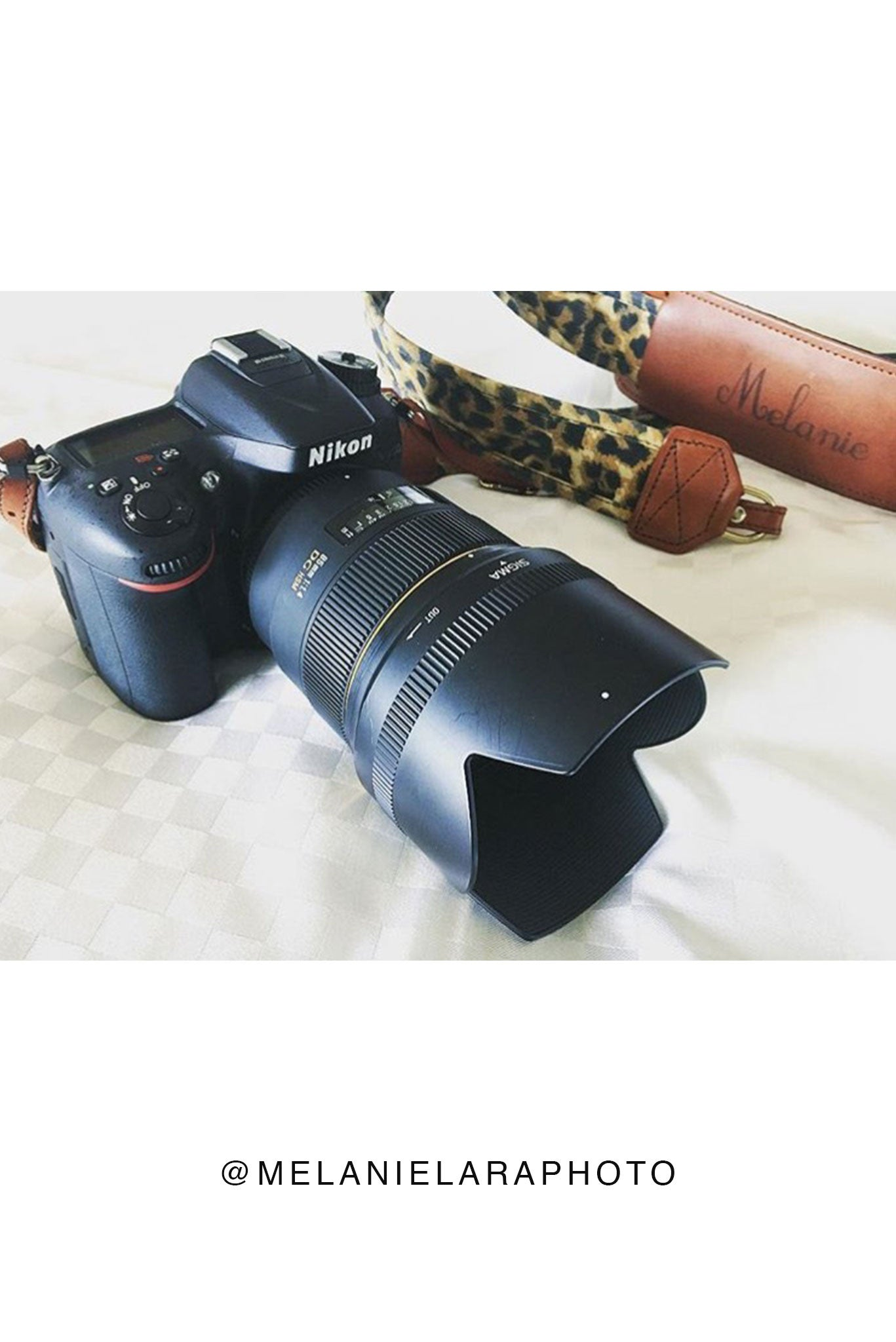 FOTO | Leopard Fotostrap - a leopard print canvas and genuine leather camera strap that can be personalized with a monogram or business logo, making it the perfect personalized gift!