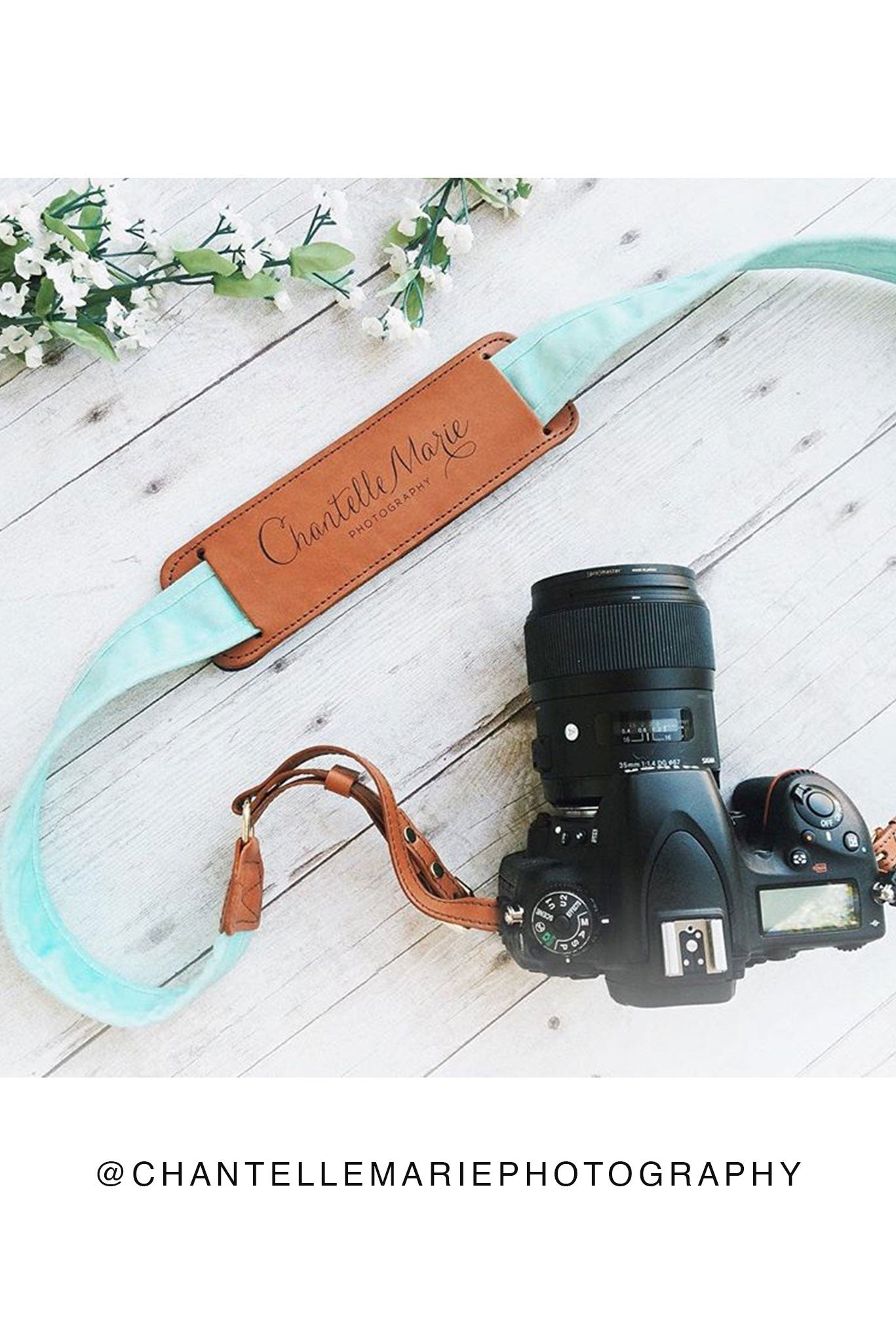 FOTO | Mint Fotostrap - a mint green canvas and genuine leather camera strap that can be personalized with a monogram or business logo, making it the perfect personalized gift!