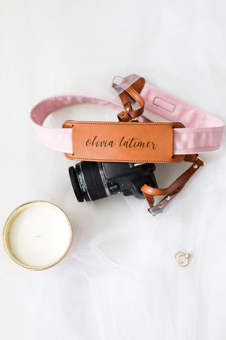 FOTO | The Blush Fotostrap for New Brides - a light pink canvas and genuine leather camera strap that can be personalized with a monogram or personal graphic, making it the perfect personalized gift!