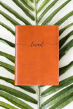 FOTO | Cognac Leather Journal for Newlyweds - refillable genuine leather journal cover can be personalized with gold foil initials, a monogram or personal graphic making it the perfect personalized gift.