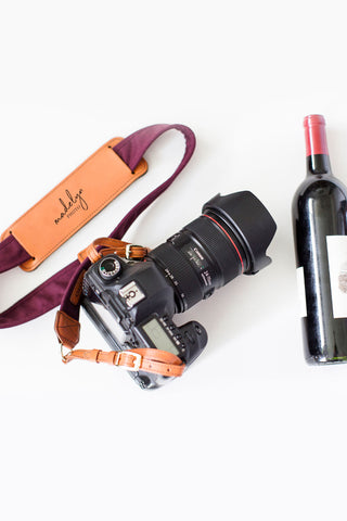 FOTO | Merlot Fotostrap for photographers - a burgundy canvas and genuine leather camera strap that can be personalized with a monogram or business logo, making it the perfect personalized gift!