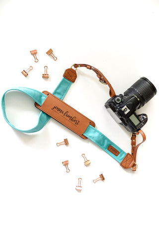 FOTO | Seaside Fotostrap for Photographers - a turquoise canvas and genuine leather camera strap that can be personalized with a monogram or business logo, making it the perfect personalized gift!