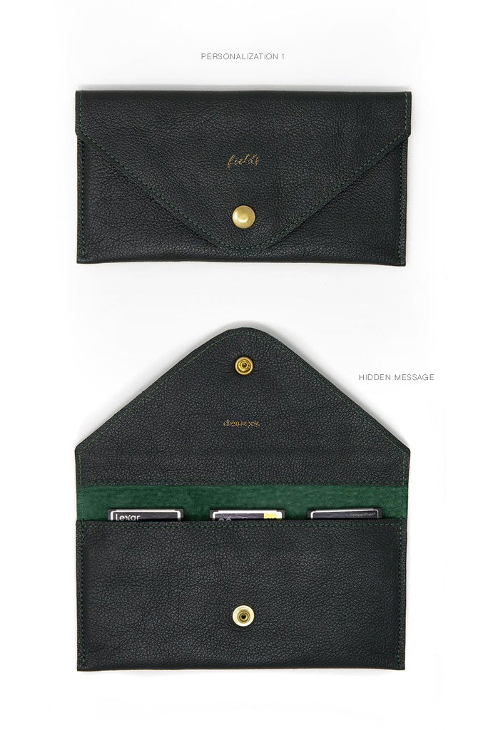 It is lined with suede, fastens with a custom brass snap and like all FOTO products can be personalized with your monogram, business logo or custom text. Help preserve and organize your work in the prettiest way.