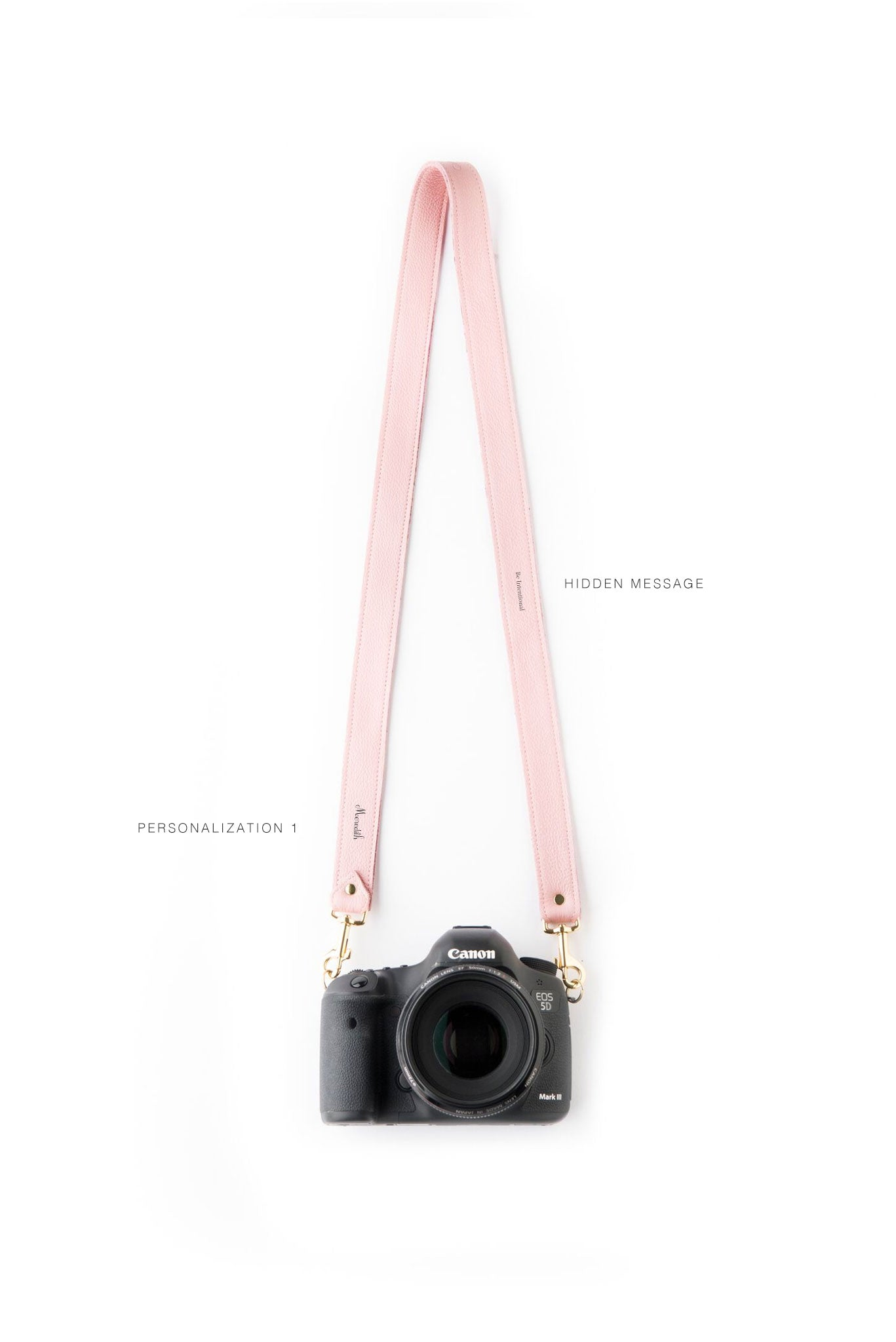 FOTO | The Designer in Rose - a rose pink genuine pebbled leather camera strap that can be personalized with a monogram or business logo, making this leather camera strap the perfect personalized gift.