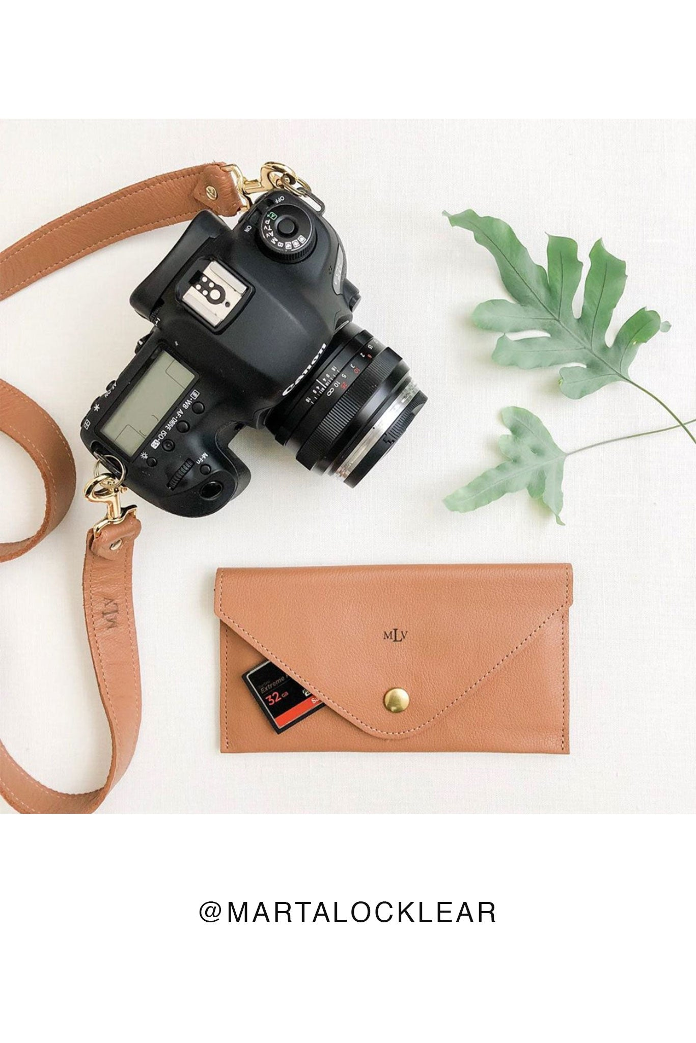 FOTO | Saddle Memory Card Wallet - a chestnut pebbled leather SD and Compact Flash Memory Card holder that coordinates with our Saddle Designer Fotostrap camera strap and can be personalized with a monogram or business logo, making it the perfect gift for the photographer in your life!