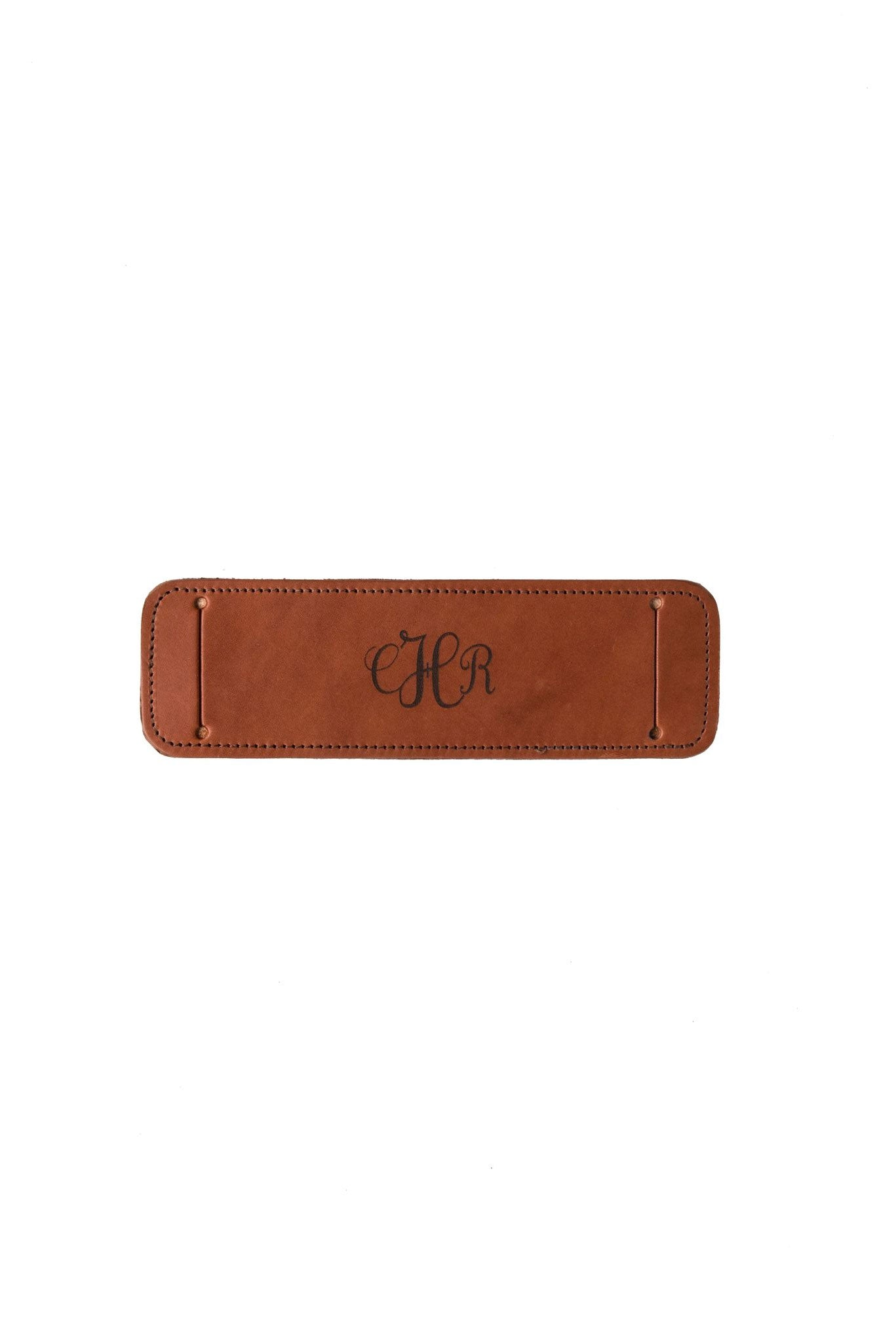 FOTO | Leather Shoulder Pad - a cognac brown genuine leather camera strap shoulder pad that can be personalized with a monogram, text or business logo making it the perfect personalized gift.