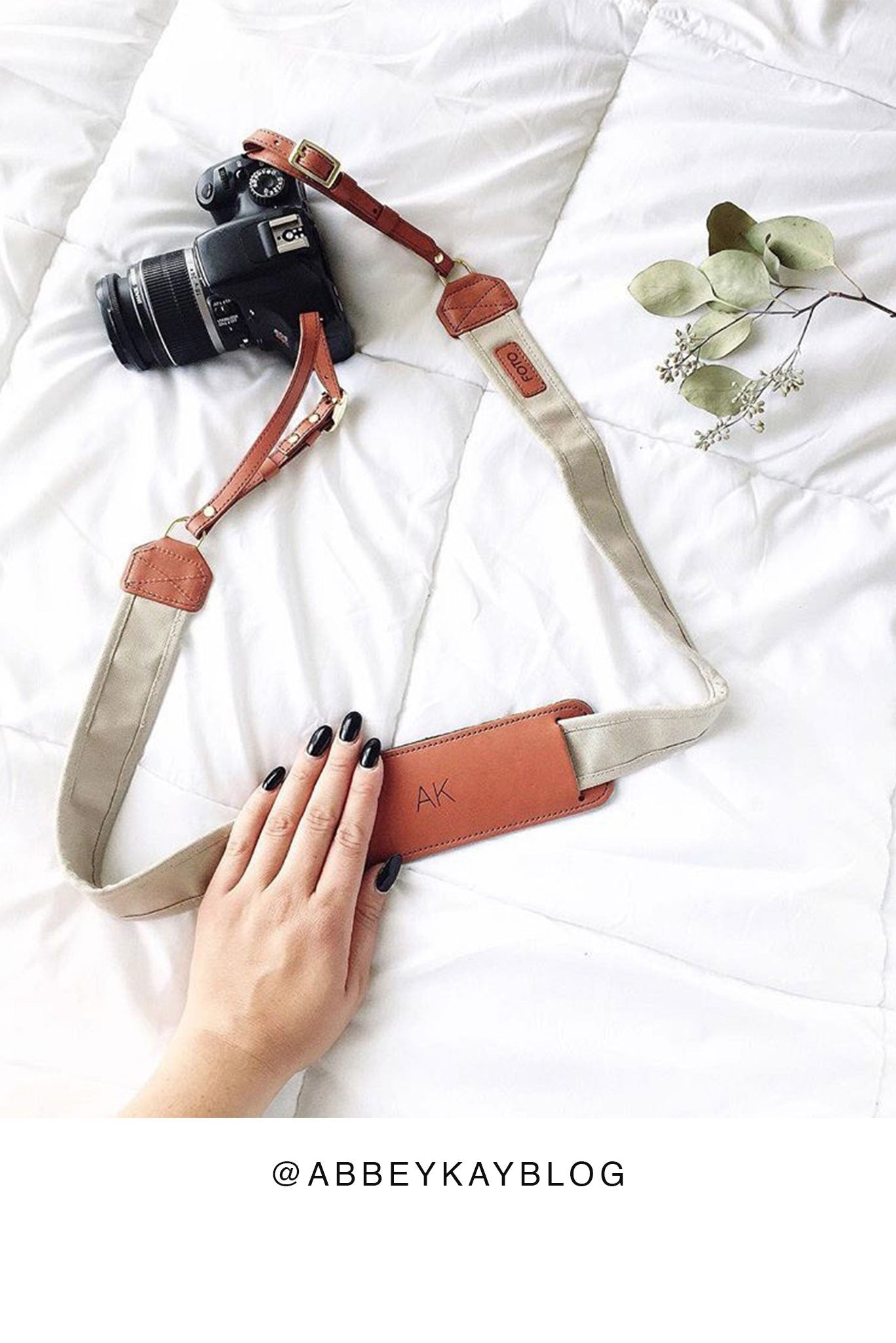 FOTO | Stone Fotostrap - a khaki canvas and genuine leather camera strap that can be personalized with a monogram or business logo, making it the perfect personalized gift!