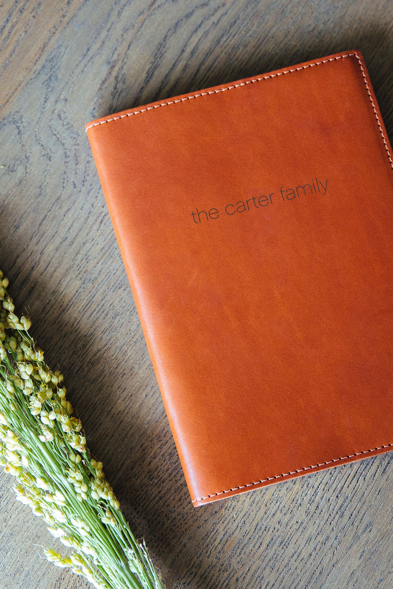FOTO | Heirloom Cognac Leather Journal for the Holidays - refillable genuine leather journal cover can be personalized with gold foil initials, family monogram, phrase or personal graphic making it the perfect personalized gift.