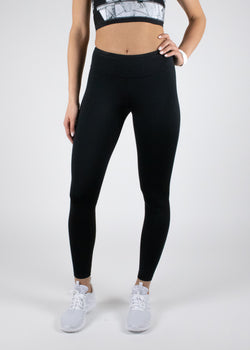 Matt black full length Hiiu leggings with mid-rise waist from Susimust SS19 collection blkgrain - front view of the leggings