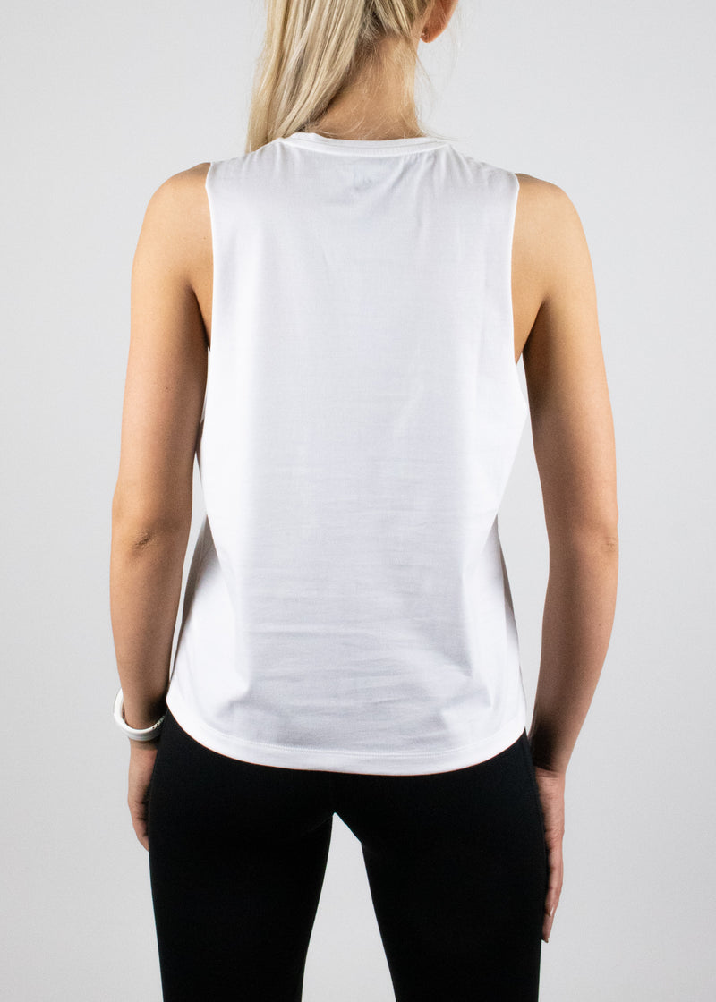 Original Logo tank in white with black Susimust logo at chest from Susimust SS19 collection - back view