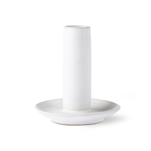 White Ceramic Candle Holder - Large