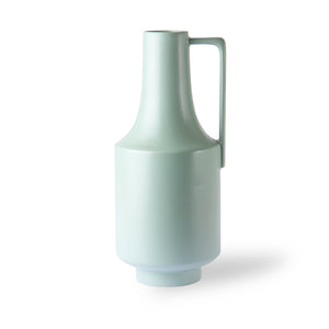 Large Green Ceramic Vase with Handle