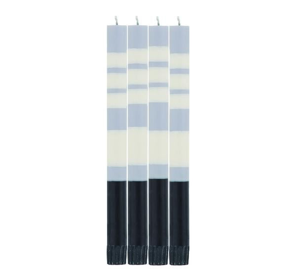 British Colour Standard Striped Dinner Candle Pack of 4 - STRIPED Jet Black, Pearl White & Dove Grey