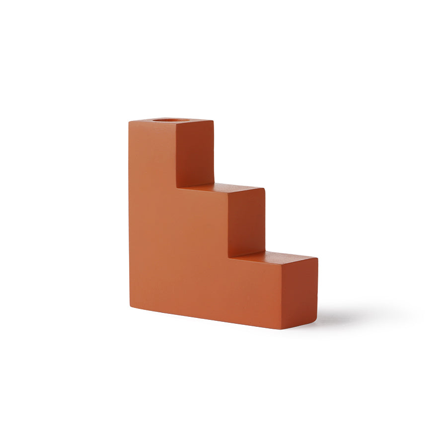 Candle Holder - Orange Concrete Stairs