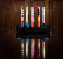Load image into Gallery viewer, British Colour Standard Striped Dinner Candle Pack of 4 - STRIPED Willow, Neyron Rose and Orange Flame