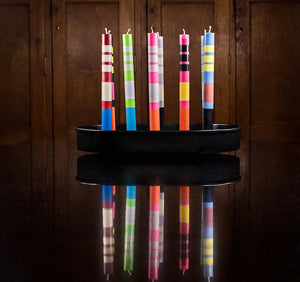 British Colour Standard Striped Dinner Candle Pack of 4 - STRIPED Willow, Neyron Rose and Orange Flame