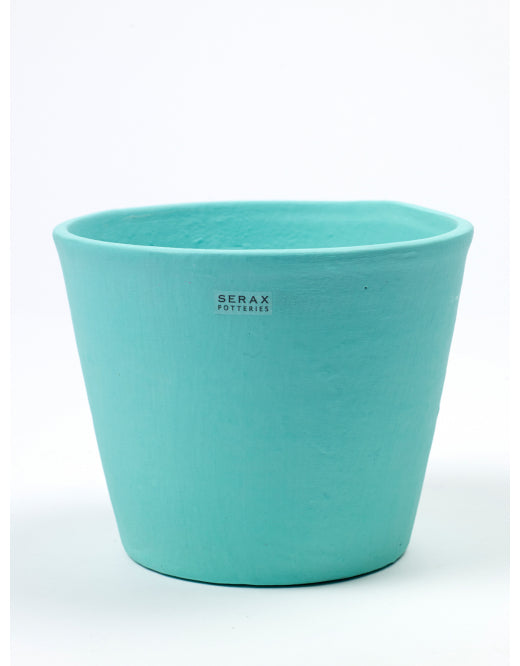 Turquoise Coloured Hand Painted Pot by Serax - Large