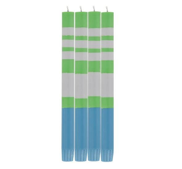 BRITISH COLOUR STANDARD - STRIPED Nanking Blue, Grass Green & Willow Grey Eco Dinner Candles, 4 Per Pack